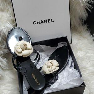 Chanel black jelly camellia sandals